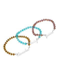 Sterling Silver Personalised Elasticated Crystal Beads Bracelet