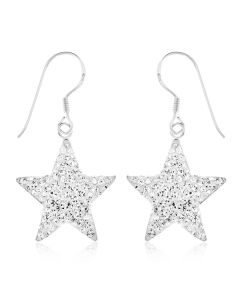 Sterling Silver Crystal Star Drop Earrings