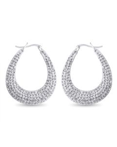 Sterling Silver White Crystal Set Large Hoop Earrings