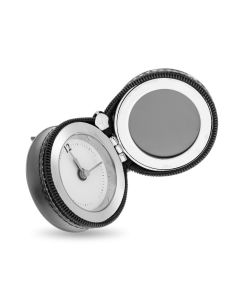 Brush Nickel & Black PU Travel Alarm Clock with Photo Frame Giftware