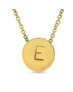 Gold Plated Stainless Steel Personalised One Initial Round Necklace