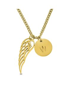 Stainless Steel Gold Plated Angel Wing And Personalised One Initial Disc Necklace