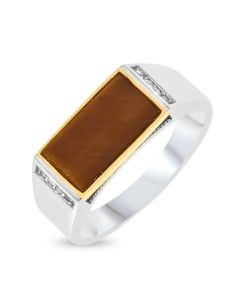 Sterling Silver & 9ct Gold Gent's Signet  Ring With Tigers Eye