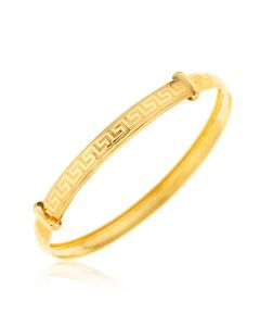 "9ct Gold Greek Key Embossed Baby Bangle 2"" Diameter 0-5 Years Old"