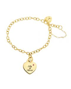 9ct Yellow Gold Personalised Two Names And CZ Of The Month Set Heart Bracelet
