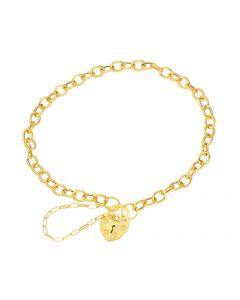 9ct Yellow Gold Heart Padlock Bracelet