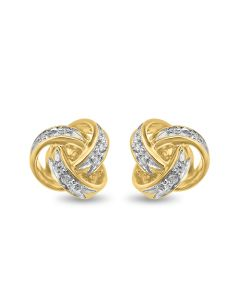 9ct Gold Diamon Set Knot Design Stud Earrings