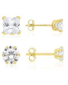9ct Gold Cubic Zirconia Set Of Two Pairs  Stud Earrings