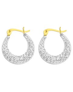 9ct Yellow Gold Crystal Encrusted Creole Earrings