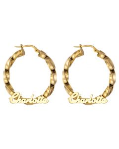 9ct Gold Personalised Hollow Twisted Hoops