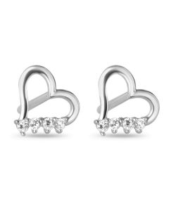 9CT White Gold CZ Set Open Heart Stud Earrings