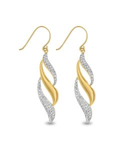 9ct Gold And Crystal Flame Drop Earrings