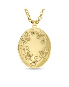 "9ct Yellow Gold Flower Print 32MM Oval Locket On 18"" Belcher Chain"