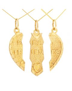 "9Ct Yellow Gold Best Three Friends Split Heart Pendant on 16"" Trace Chains"