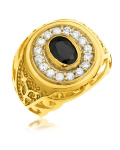 18ct Gold Plated Silver Oval Sapphire and CZ Signet Ring