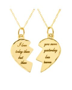 "9CT Yellow Gold Two Part Love Story Heart Pendant on 16"" Trace chains"