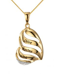 "9ct Yellow Gold Personalised Dia Set Heart Pendant on 18"" Curb Chain"
