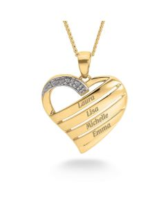 "9ct Yellow Gold Personalised Diamond Set Heart Pendant on 18"" Curb Chain"