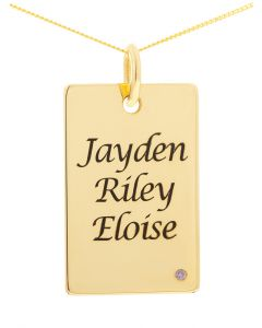 "9ct Yellow Gold Personalised 3 Names CZ Birthstone Set Dog Tag Pendant On 18"" Curb Chain"