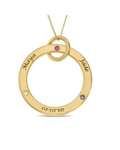 "9ct Yellow Gold Personalised Cubic Zirconia Birthstone Set Circle Pendant On 18"" Curb Chain"