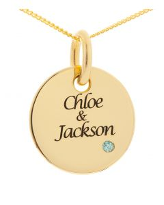 "9ct Yellow Gold Personalised CZ Birthstone Set Round Disc Pendant on 18"" Curb Chain"