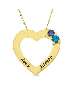 "9ct Yellow Gold Personalised Two Stone Heart Keepsake Pendant on 18"" Curb Chain"