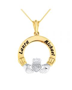"9ct Yellow Gold Personalised Diamond Set Claddagh Pendant on 18"" Curb Chain"