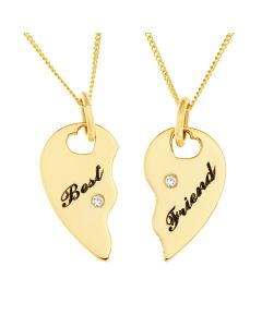 "9ct Yellow Gold 'Best Friends' Split Heart Diamond Set Pendant on 2x18"" Curb Chains"