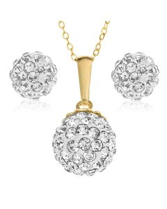 "9ct Gold Crystal 8mm Ball Set Of Studs And Pendant On 18"" Trace Chain"