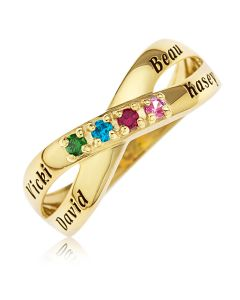 9ct Yellow Gold Four Names And Four Stones Crossover Ring