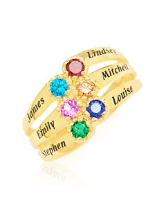9ct Yellow Gold Personalised 6 Names And  6 CZ Birthstones Family Ring