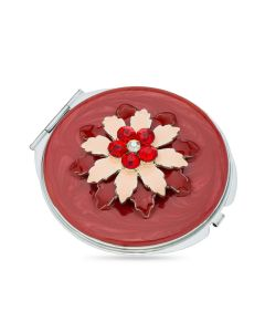 Fancy Red Crystal Set Flower Compact Mirror