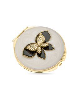 Fancy Gold Plated Crystal Set Butterfly Compact Mirror