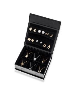 Black Jewellery Box Containing 6 Pair Of Base Metal Stud Earrings And Matching Pendants