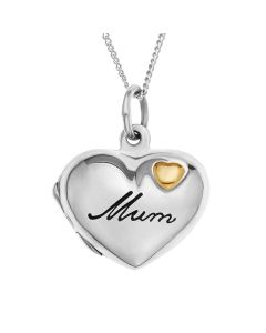 "Silver Personalised Mum Heart Locket on 18"" Curb Chain"