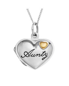 "Silver Personalised Aunty Heart Locket on 18""Curb Chain"