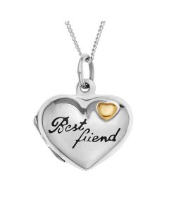 "Sterling Silver Personalised Best Friend Heart Locket On 18""Curb Chain"