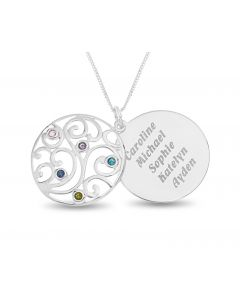 "Sterling Silver Personalised Five Names And Birthstones Filigree Disc Pendant on 18"" Curb Chain"