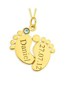 "9ct Yellow Gold Personalised Baby Feet Pendant With Blue CZ On 18"" Curb Chain"