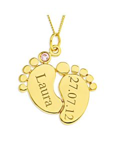 "9ct Yellow Gold Personalised Baby Feet Pendant With Pink CZ on 18"" Curb Chain"