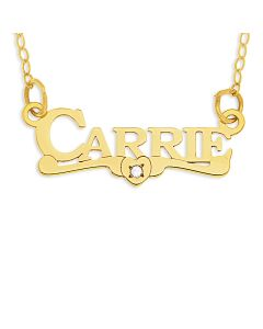 """9ct Yellow Gold DIAMOND Name Necklace On 16"""" Trace Chain"""