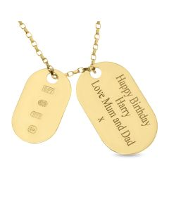 "9ct Yellow Gold Personalised Double Dog Tag Pendant with Laser Hall Marks On 18"" Belcher Chain"