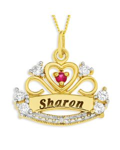 "9ct Yellow Gold Personalised Crown Pendant with CZ and Dia On 18"" Curb Chain"