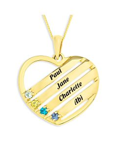 "9ct Gold Personalised Family Keepsake Names And Birthstones Pendant On 18"" Curb Chain"