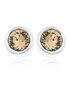 Platinum Plated Base Metal Swarowski Champagne Crystal Rubover Stud Earrings