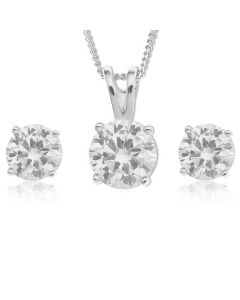 "Platinum Plated Silver CZ Round Earrings And Pendant Set On 18"" Curb Chain"