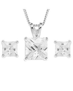 "Platinum Plated Silver CZ Princess Cut Set On 18"" Curb Chain"