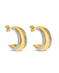 9ct Gold With Rhodium Plated Edges Half Hoop Wedding Band Earrings