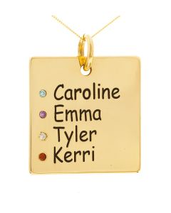 "9ct Yellow Gold Personalised 4 Names & 4 CZ Birthstones Square Pendant on 18"" Curb Chain"