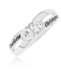 Sterling Silver Personalised Crossed Over Cibic Zirconia Heart Set Ring